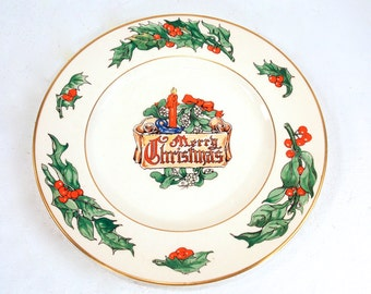 Vintage Christmas Plate 1947 Fondeville Duff Yuletide Plate, Rare, Made in England, Walter R Duff, Merry Christmas, Holly Berries, Candle