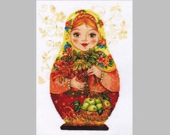 NEW UNOPENED Counted Cross Stitch KIT Alisa 6-06 Matryoshka Autumn Beauty
