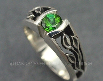 STERLING, 3-LEAF Ring with Green Tourmaline or Your Choice of Stone,  Twig and Leaf, Delicate Leaf,