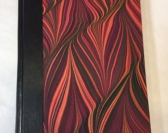 Handmade Sketchbook, Journal with Red Hand Marbled Paper and Leather Spine