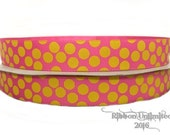 10 Yds WHOLESALE 7/8 Inch Hot PINK-YELLOW Sugar Dot grosgrain ribbon Low Shipping Cost