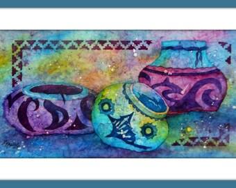 Southwestern Pottery Watercolor, Batik Watercolor, Santa Fe Art, Watercolor Pots, Watercolor Southwest, Taos Art, Purple, Turquoise, Blue