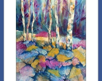 Watercolor Aspen Trees, Birch Tree Collage, Birch Rocks Watercolor, Watercolor Collage, Collage Papers, Watercolor Texture, Martha Kisling