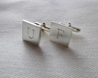 Initial cuff links, gift for groom, father of the bride groomsmen gifts sterling silver cufflinks suit accessories engraved