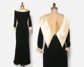 Vintage 60s OLEG CASSINI Gown / 1960s Black & Ivory Silk Low Back Evening Formal Dress XS - S