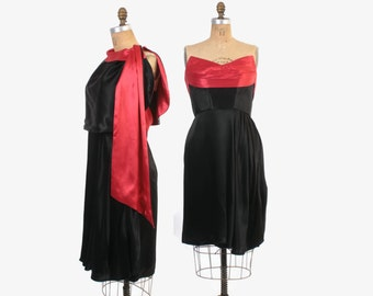 Vintage 70s Satin DRESS / 1970s Strapless Red & Black Dress Matching Capelet M - L