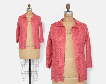 Vintage 60s Ribbon JACKET / 1960s Salmon Coral Pink Ribbon Crochet Loose Fit Cardigan