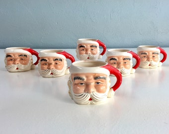 Vintage Santa Claus Mugs Set of Six, Antique Christmas