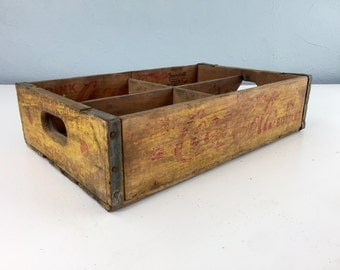Vintage 1958 Yellow Coca Cola Crate, Coke Box, Wooden Soda Crate, 1950s Advertising, Drink Coca Cola in Bottles
