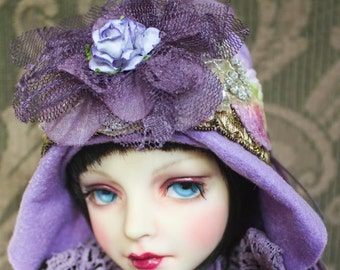 Glorious Purple Flapper Style Hat with Flowers For Ball Jointed Dolls & Blythe
