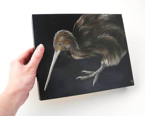 Kiwi painting - kiwi bird art - New Zealand wildlife art - flightless bird - exotic bird painting - endangered species art - nocturnal bird