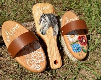 Pre Order: Custom Set of 3  Horse Grooming Brushes