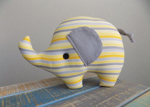 Elephant plush toy in yellow and grey stripes, elephant stuffed animal, elephant nursery decor, gender neutral nursery, elephant pillow