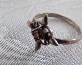 Vintage ring, ruby red stone sterling silver Celtic cross design ring, size 4 & 3/4 ring, cross ring, signed ring