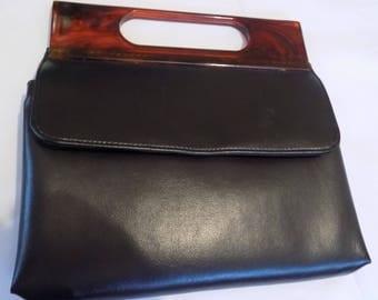 Vintage purse, Calego Canada,handbag,tortoiseshell look, black purse, retro purse, Montreal handbag