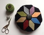 Primitive Penny Rug Wool Pincushion Plain Button Wool Felt JKB