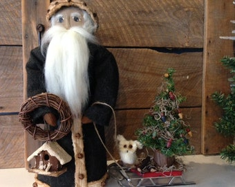 Primitive Santa with White Owl Sled  Heirloom Handmade JKB