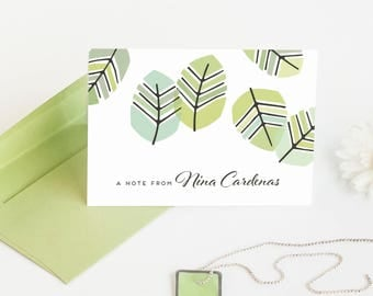 Custom Stationery, Personalized Note Card Set, Botanical Cards // SCATTERED LEAVES