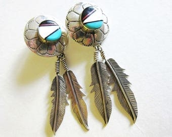 Sterling Silver Mother of Pearl Feather Earrings