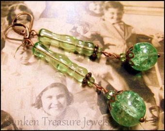 Mint Green Artistic Earrings,Green Apples, Peridot Green Czech Art Glass, Downton Abbey Earrings, BoHo Green Earrings, Green Crackle Glass