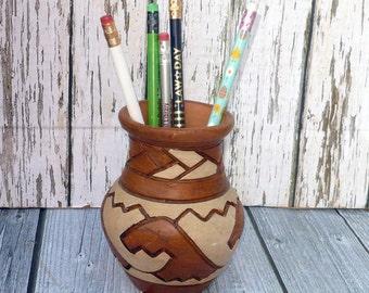 Southwest Style Pottery Vase Native American Inspired Vase
