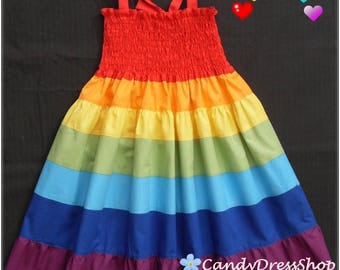 Girls Rainbow dress, Rainbow Maxi dress for girls, Rainbow party dress, Rainbow dress (Available in sizes 2T to 9 years) From CandydressShop