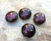Grand disque perles de verre, feuille bordée de verre perles, 20mm, choisissent le bleu, violet ou blanc.