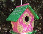 Pink and Green Handpainted Birdhouse Floral Designs Decorative Whimsical Doodles and Dots Rope Attached Yellow Light Pink and Light Green