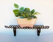 Black Punched Metal Shelf For Plants Or Small Items Vintage Garden Patio Decor