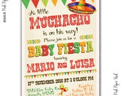 Fiesta Party Invitation, Boy Party, Baby Shower, Little Muchacho, I will customize for you, Print your own