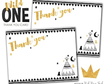 Wild One Thank You Card, Tribal Thank You Card, Boho, Tribal, Aztec, Printable Thank You Card, Instant Download, Print Your Own