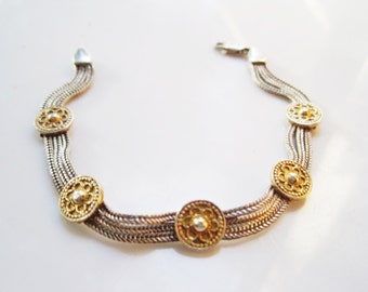 Mesh Bracelet - Gold Gilt Sterling Silver - Multi Chain - Ethnic - Turkish Jewelry - 84NU