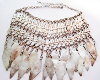 Tribal Headdress, Silver Turkoman Choker, Ethnic Ornament Changed into a Necklace, Central Asian Jewelry