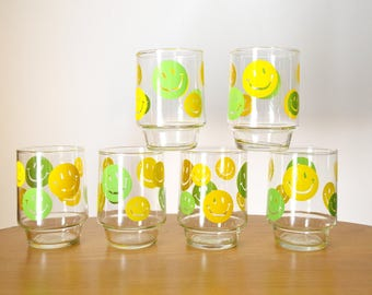 Mid Century Green and Yellow Smiley Face Glasses