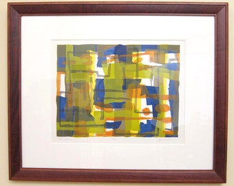 Framed Mid-Century Print Lithograph Abstract Modernist Wall Art G.G. Kosch Limited Edition Blue Orange