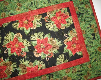 Christmas Table Runner with Poinsettias, Candy Canes, Pine Cones and Evergreen Branches, fabric from Timeless Treasures