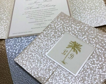Pebble Wrapped Invitation w/Double Tab