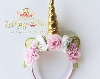 Pink and Gold Unicorn Headband