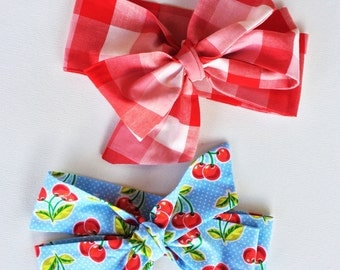1 piece Gingham or Cherry Bow Turban Headband