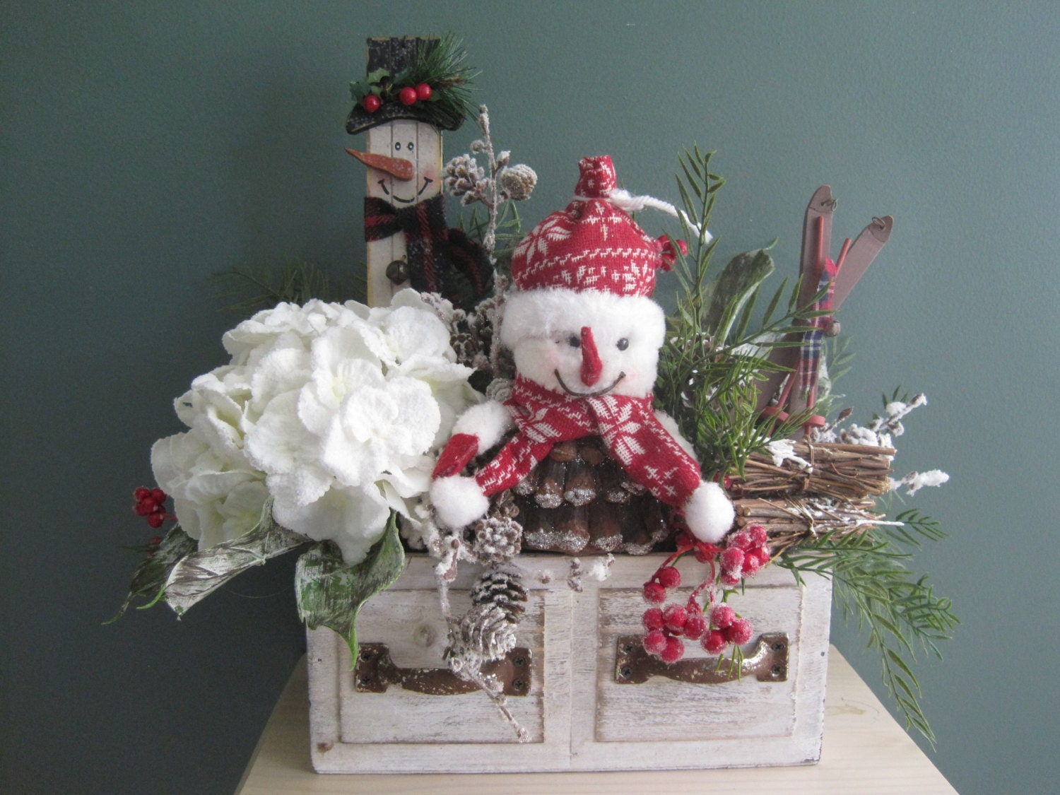 Farmhouse christmas arrangement winter floral arrangement for 180 degrees christmas decoration