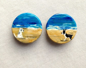 DOGS on BEACH magnets hand painted white and grey dog black and white dog Boston Terrier