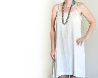 Antique Cotton and Lace Slip Dress / Embriodered / Edwardian / 1910's-1920's