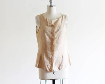 Vintage Minimal Woven Neutral Tank / Ramie / Natural Sheer Blouse Loose Blouse