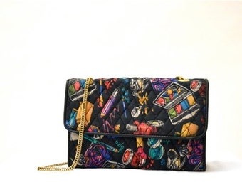 Sale 15% off Vintage Quilted Nicole Miller Purse with Cosmetic Make Up Print // Cross Body Bag Quilted Leather and Silk Clutch with Cosmetic