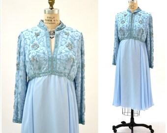 60s 70s Vintage Beaded Dress Blue Size Large XL// Vintage Party Wedding Dress Size Large Beaded Prom Bridesmaid Dress Pale Robins Egg Blue