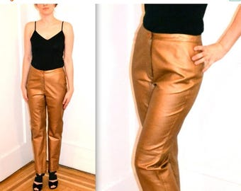 SALE 50% OFF Amazing Metallic Leather Pants// Vintage Leather Pants Size Small/Medium// Gold Leather Pants