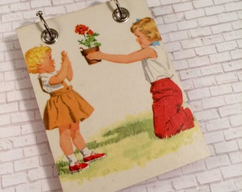 Recycled  Notebook - Garden Notebook - Upcycled Vintage Children's Book - Large Notepad - Refillable Notepad - Sisters
