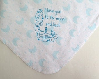 I Love You to the Moon and Back Embroidered Receiving Blanket