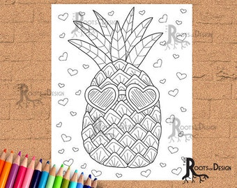 INSTANT DOWNLOAD Coloring Page Sunglasses Pineapple coloring, doodle art, printable