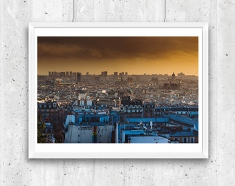 Panoramic view over Paris rooftops from Montmartre, Unframed Fine Art Photograph